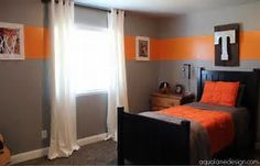 Orange bedroom decor and grey bedroom decor orange and grey paint Room Colors, Boys Bedroom Colors, Bedroom Orange, Boys Room Colors, Boys Room Blue, Grey Bedroom Decor, Orange Bedroom Decor, Boy Room Paint, Kids Room Paint