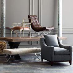 "Greek Key Armchair , brown leather, WS, 22.5""X26""X28"""