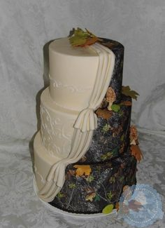 orchids and camo wedding cake - Google Search