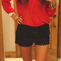 black lace shorts I need a red blouse