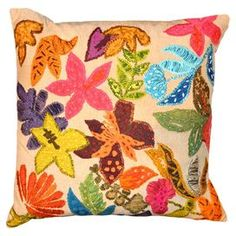 """Handmade cotton cushion cover with a multicolor floral motif.   Product: Cushion coverConstruction Material: 100% CottonColor: MultiDimensions: 18"""" x 18""""Note: Insert not inlcluded"""