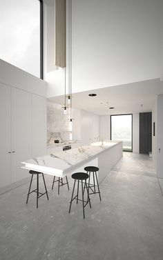 adoffice.be 4FIN.jpg woning vide keuken marmer vloer beton doorzicht lichtinval interieur wit verlichting pendel
