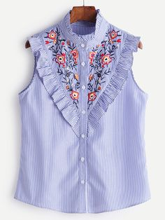 Preppy Striped and Floral Shirt Slim Fit Stand Collar Sleeveless Blue Striped Button Ruffle Trim Embroidered Blouse Shirt Blouses, Shirts, Blouse Online, Embroidered Blouse, Mode Style, Sleeveless Blouse, Blouses For Women, Ladies Blouses, Designer Dresses