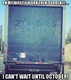 On My Way To Work Zombies Inside Truck Funny The Walking Dead #landmarkautoinc