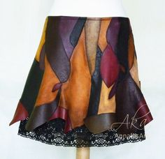 Extravagant genuine in wonderful colors. Low-waist, bell-shaped style above the knees, with black silk lining and cotton lace. Leather Photo Albums, Colorful Shoes, Leather Gifts, Leather Journal, Cotton Lace, Black Silk, Unique Fashion, Small Shops, Leather Skirt