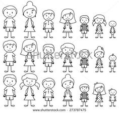 Set of Cute and Diverse Stick People in Vector Format, strokes expanded but image not flattened so different aspects of each person can be easily altered