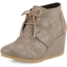 TOMS.  Desert Lace-Up Wedge Bootie, Gunmetal.  With every pair you purchase, TOMS will give a pair of new shoes to a child in need.  One for One.  TOMS metalli…