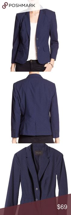 "NWT Banana Republic navy eyelet jacket Brand new ""shrunken"" navy jacket with 3/4 length sleeves. Adorable for the office in the spring/summer! Banana Republic Jackets & Coats Blazers"