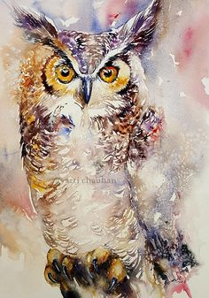 Owl Painting Original Art Watercolor Painting Wall Decor Bird