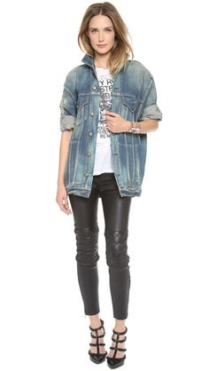 oversized denim jacket and quilted leather pants