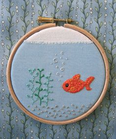 Fish Bowl Embroidery by Stitcher Scribbler, via Flickr