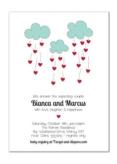 Couples Baby Shower Invitation. Hearts Clouds $20.00, via Etsy.
