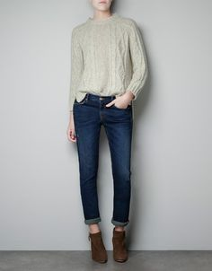 CABLE KNIT SWEATER WITH BACK BOW - Knitwear - Woman - ZARA