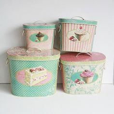 Set of 4 Boxes Vintage Inspired Storage tin boxes with by maamoon, $65.50