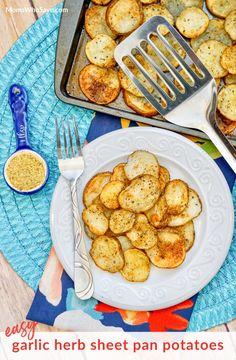 Easy Garlic Herb Sheet Pan Potatoes   MomsWhoSave.com   #recipes