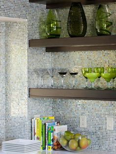 Add Glamour with Glass Tile- to match the chandelier