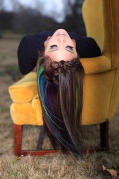 Use oil pastels on sections of hair, then coat with hairspray. - Temporary color for brunettes.