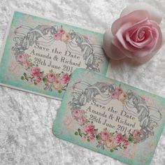 Vintage Save the Date Cards  Ribbon Cartouche Ref 64 by barbie57, £4.20