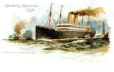 Hamburg-Amerika line vintage postcard reproduction print