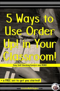 FIVE, yes- five easy-to-do ways to use Order Up! in your classroom to simplify your teaching without sacrificing student learning! Reading Centers, Math Centers, Math Stations, Teaching Activities, Teaching Resources, Teaching Ideas, Classroom Activities, Book Organization, Classroom Organization