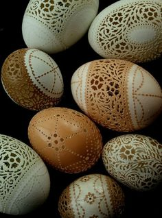 Eggshell carvings.