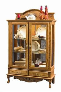 Amish Solid Wood Corner Hutch Cabinet