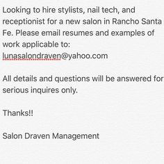 Barbers welcome as well!! #salondraven #hairsalon #booth #boothrent #hair #hairstylist #sandiego #sandiegohairstylist #ranchosantafe #delmar #salon #salonlife #hairbrained #nails #nailtech #barber #sandiegobarber #ranchosantafelocals #sandiegoconnection #sdlocals #rsflocals - posted by Paloma (Luna) Rae Nuñez  https://www.instagram.com/milkandhoneyskin. See more post on Rancho Santa Fe at http://ranchosantafelocals.com