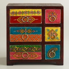 Painted Wood Box with Drawers