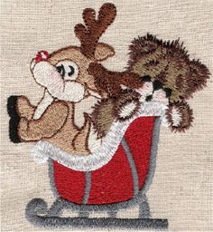 Threadsketches' set Reindeer games- Christmas machine embroidery design, deer in sleigh
