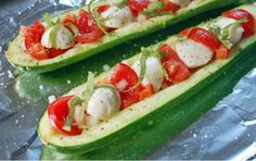 Zucchini Boats with JJS OWN Basil Vinaigrette...visit JJS OWN on facebook for recipe