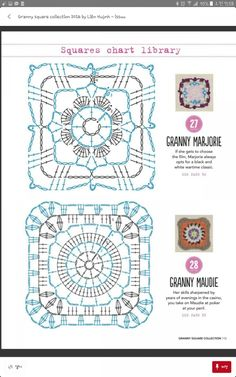 from Granny square collection 2016 Crochet Mandala Pattern, Granny Square Crochet Pattern, Crochet Blocks, Crochet Diagram, Crochet Chart, Crochet Squares, Easy Crochet Patterns, Crochet Doilies, Crochet Stitches