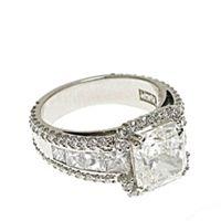 3 carat Diamond Ring, Tapered Sidestones, Unique Luxury Engagement Ring