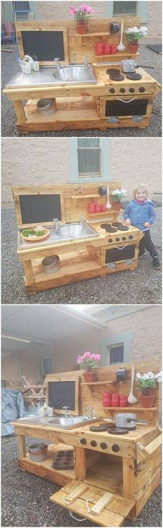 Having a mud kitchen in the house outdoor with the beautiful creation of wood pallet use in it will eventually give a nice impression to your house. Mud Kitchen is favorably used when you are cooking outdoor in your patio or garden areas. This wood pallet creative mud kitchen do offer with the unique giant structural designing framework of mud kitchen creation. #outdoor #kitchen #ideas
