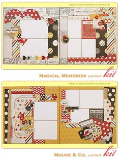 PaisleysandPolkaDots.com Mouse & Co. & Magical Memories Two, 2-Page Scrapbook Layout Kits featured at ScrapClubs.com