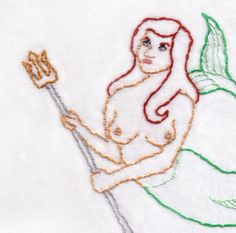 Mermaid with a Trident Hand Embroidery Pattern by ravenfrog
