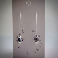 Silver plated single wire beaded earrings