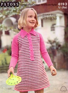 "4 ply summer dress 22-26/"" 1970s Cute Patons 6427 Vintage Girls Crochet Pattern"