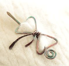 Shawl pin scarf pin in bow tie shape pin with a pin by IngoDesign