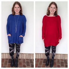 New tunic length sweater with pockets in store now! $32 available in Red & Blue. Perfect over our new starburst tie dye leggings! $38.