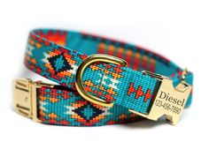 Personalized Aztec Dog Collar - Tribal, Navajo Dog Collar- Tribal in Teal