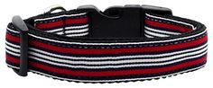 Mirage Pet Products Pet Outdoor Training Puppy Safety Walking Lead Preppy Stripes Nylon Ribbon Adjustable Dog Collar Red/White XS *** To view further for this item, visit the image link.
