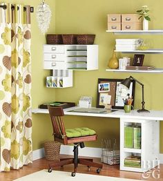 I love the corner shelves!  Transform an empty corner into a home office that's full of function thanks to expansive desk space and smart storage solutions.