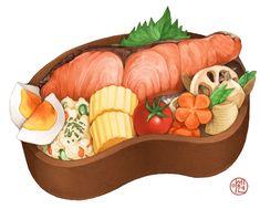 Vegetable Stew, Vegetable Salad, Cute Food Art, Salmon Eggs, Food Sketch, Watercolor Food, Food Painting, Food Drawing, Painted Boxes