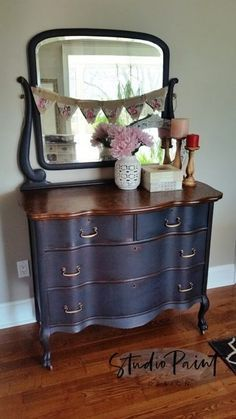 "Serpentine Painted Antique Dresser ""Lynn"" - Studio Paint Design"