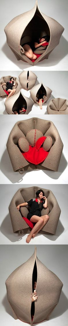 """Dubbed """"HUSH"""" the chair/hut is in the design of a womb. The product is made of wool felt. When you don't want to see people, go inside and fasten the door with buttons. Of course, you can peep out. Home Decor Furniture, Cool Furniture, Furniture Design, Buy Chair, Sofa Chair, House On The Rock, Shape Design, Decoration, Modern Decor"""