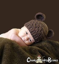 3 to 6 Months Teddy Bear Baby Crochet Flapper Beanie Chocolate Brown with Ears. So Cute. Great for Photo Props. Baby Shower Gift.. $22.00, via Etsy.