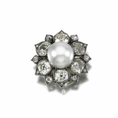 PEARL AND DIAMOND BROOCH/PENDANT, LATE 19TH CENTURY