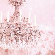beautiful pink chandelier.