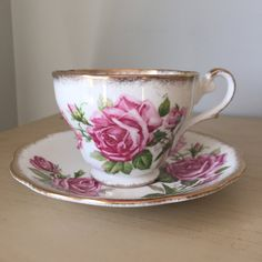 """Royal Standard """"Orleans Rose"""" Vintage Teacup and Saucer, Pink Rose Tea Cup and Saucer, English Floral China by CupandOwl on Etsy"""