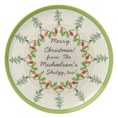 Christmas Trees & Lights (Personalized Gift Plate) Plate